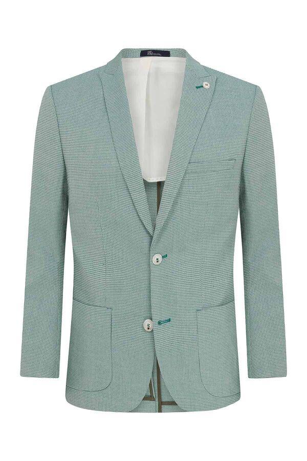 HTML - Açık Yeşil Desenli Slim Fit Ceket