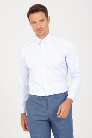 Hatem Saykı - Slim Fit Buz Mavi Gömlek