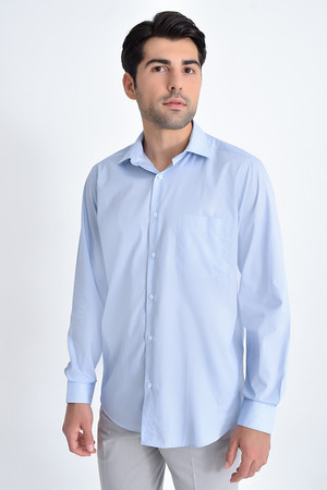 Hatemoğlu - Baskılı Klasik Mavi Gömlek