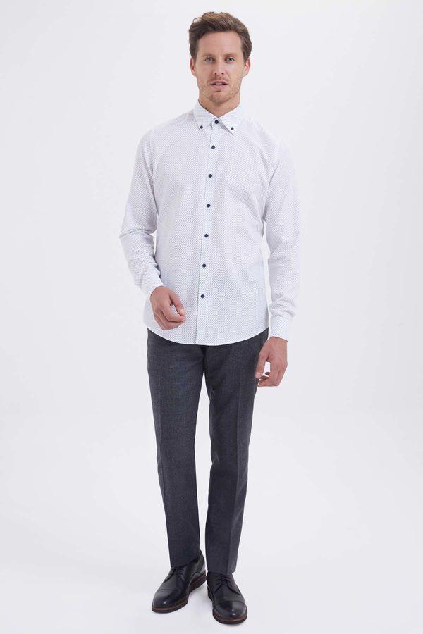 Hatem Saykı - Baskılı Regular Beyaz Gömlek (1)