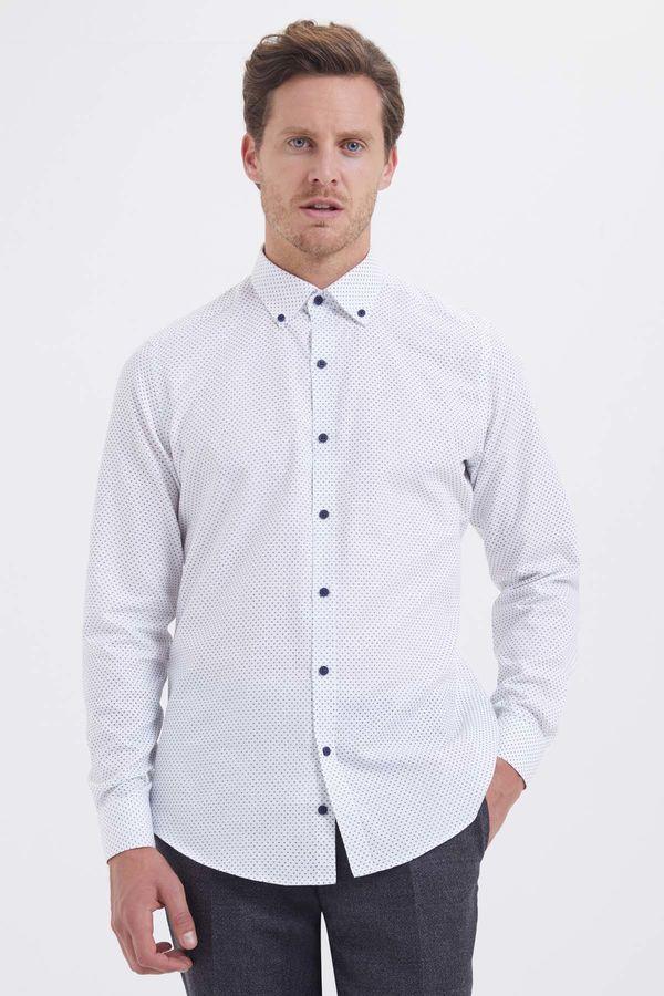 Hatem Saykı - Baskılı Regular Beyaz Gömlek