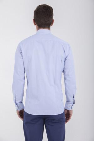 Baskılı Regular Mavi Gömlek - Thumbnail
