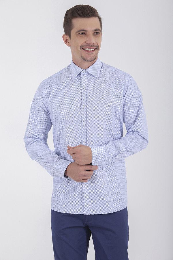 Baskılı Regular Mavi Gömlek