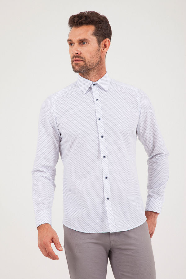 Hatemoğlu - Baskılı Slim Fit Beyaz Gömlek