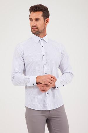 Baskılı Slim Fit Beyaz Gömlek - Thumbnail