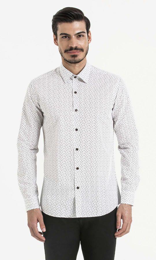 Hatem Saykı - Baskılı Slim Fit Beyaz Gömlek
