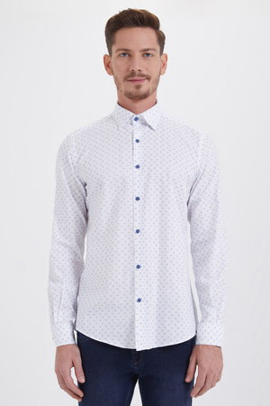 HTML - Baskılı Slim Fit Beyaz Gömlek