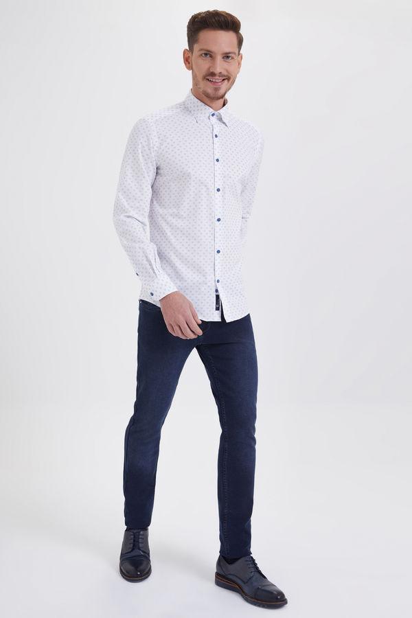 HTML - Baskılı Slim Fit Beyaz Gömlek (1)