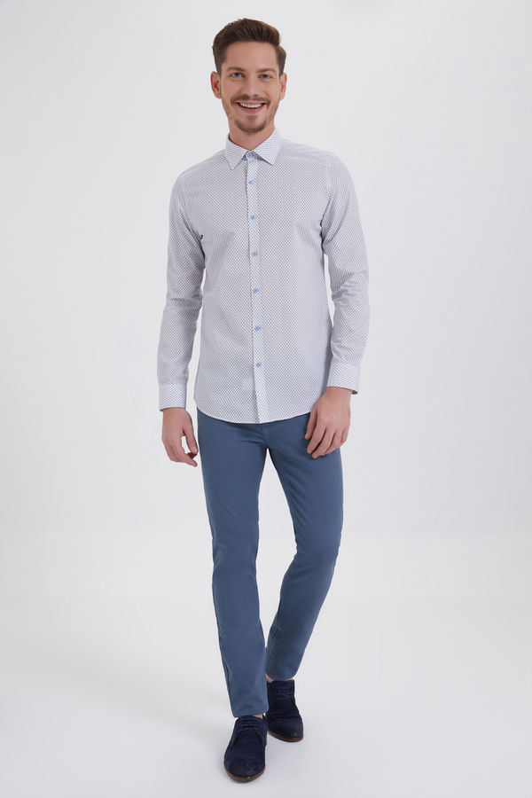 Hatem Saykı - Baskılı Slim Fit Beyaz Gömlek (1)