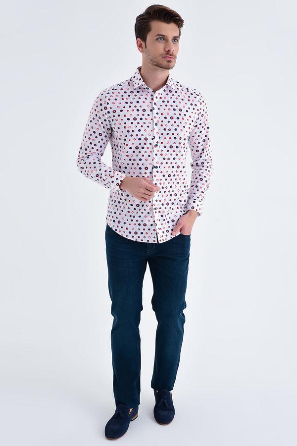 HTML - Baskılı Slim Fit Bordo Gömlek (1)
