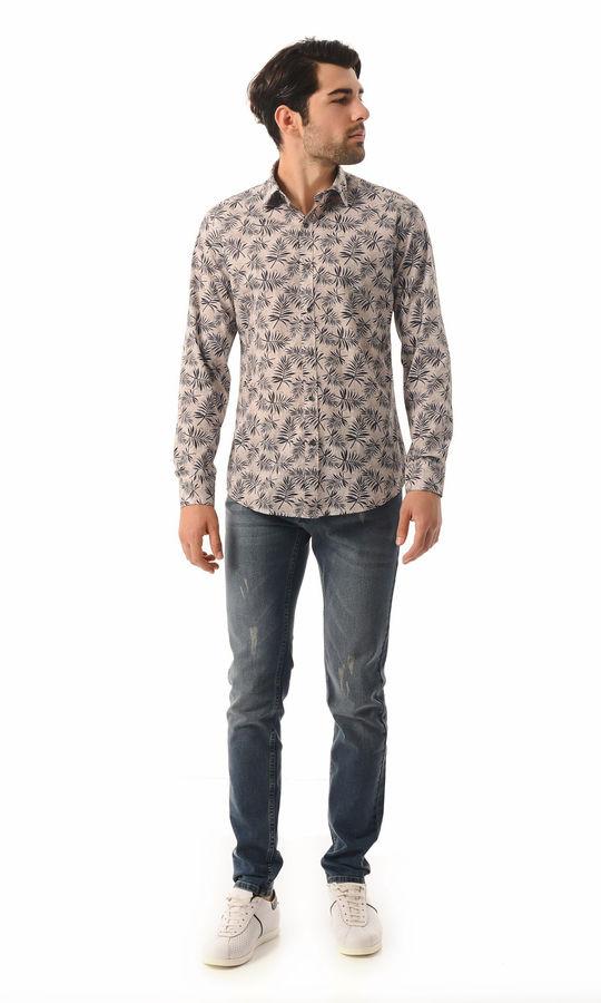 Hatem Saykı - Baskılı Slim Fit Kahverengi Gömlek (1)