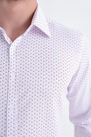Baskılı Slim Fit Kırmızı Gömlek - Thumbnail