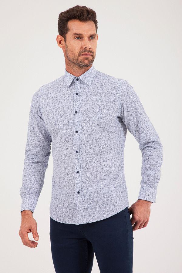 Baskılı Slim Fit Lacivert Gömlek