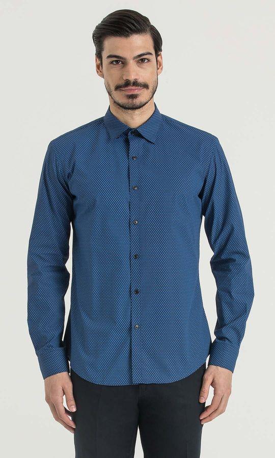 Hatem Saykı - Baskılı Slim Fit Lacivert Gömlek