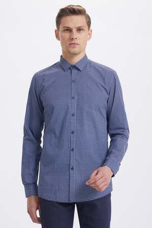 HTML - Baskılı Slim Fit Lacivert Gömlek