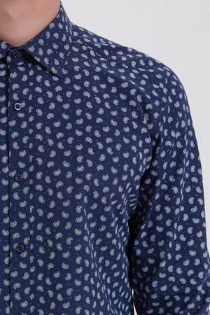 Baskılı Slim Fit Lacivert Gömlek - Thumbnail