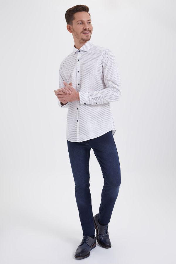 Hatem Saykı - Baskılı Slim Fit Lacivert Gömlek (1)