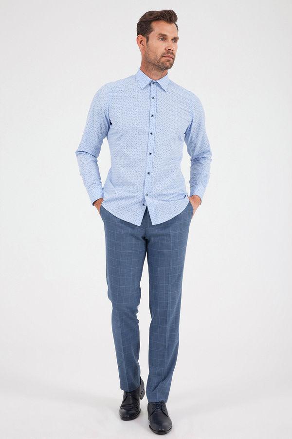 Hatemoğlu - Baskılı Slim Fit Mavi Gömlek (1)