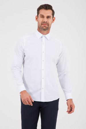 Hatemoğlu - Baskılı Slim Fit Mavi Gömlek