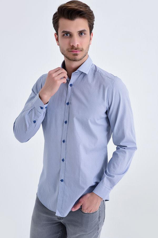 HTML - Baskılı Slim Fit Mavi Gömlek
