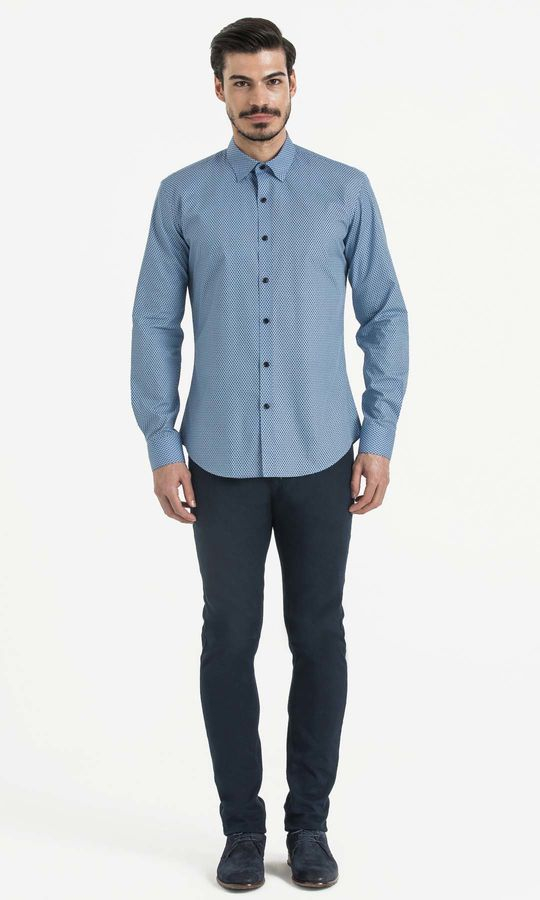 Hatem Saykı - Baskılı Slim Fit Mavi Gömlek (1)