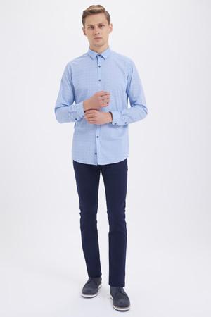 HTML - Baskılı Slim Fit Mavi Gömlek (1)