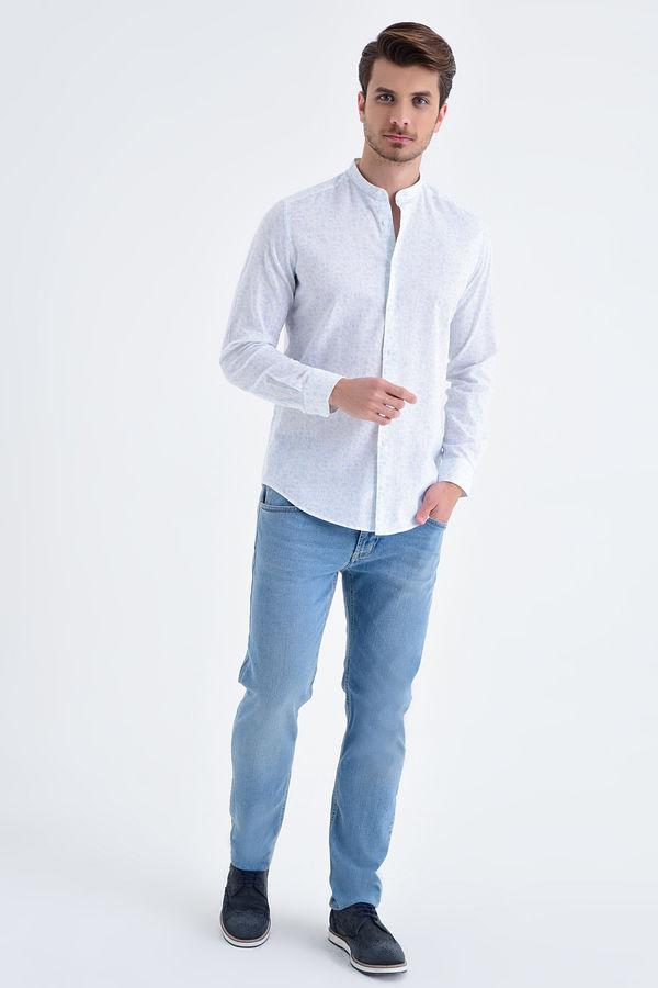 Baskılı Slim Fit Mavi Gömlek