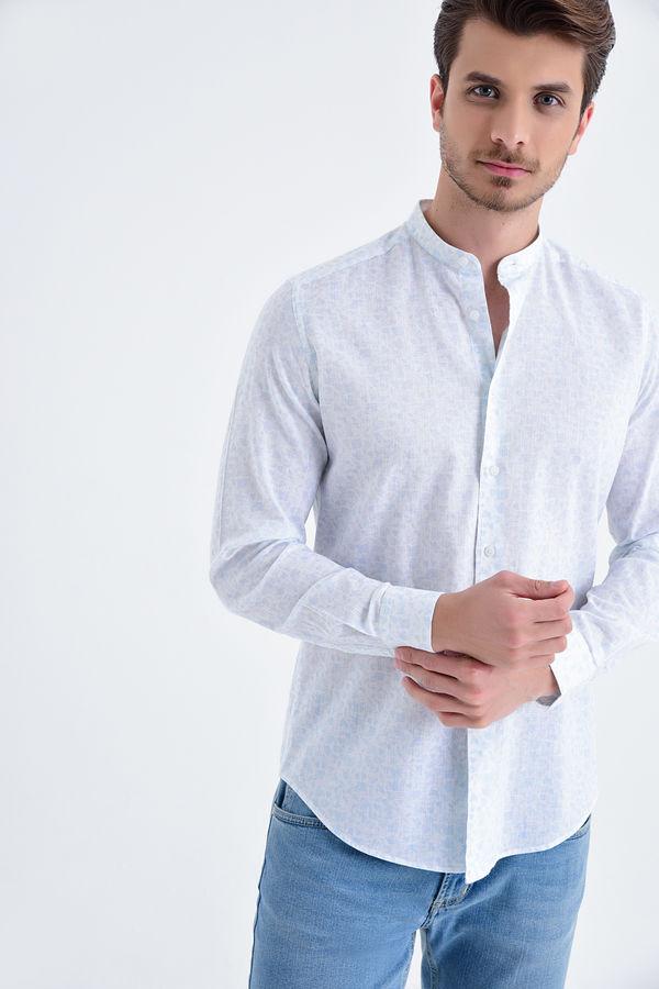 Hatem Saykı - Baskılı Slim Fit Mavi Gömlek