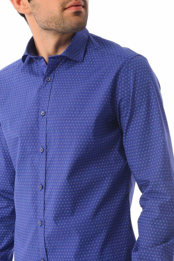 Baskılı Slim Fit Saks Gömlek