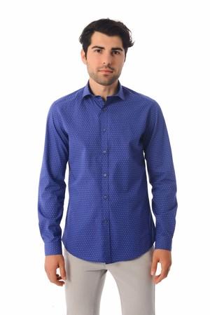 HTML - Baskılı Slim Fit Saks Gömlek