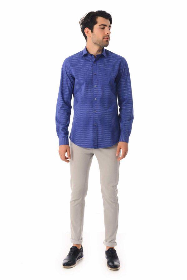 HTML - Baskılı Slim Fit Saks Gömlek (1)