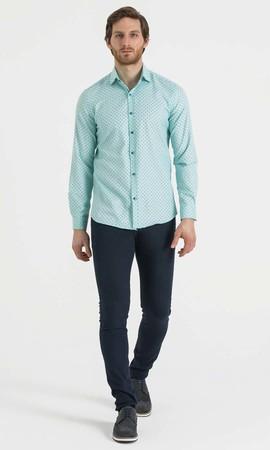 HTML - Baskılı Slim Fit Yeşil Gömlek (1)
