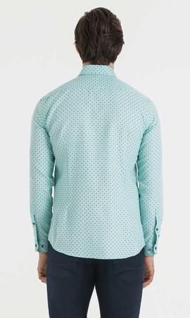 Baskılı Slim Fit Yeşil Gömlek - Thumbnail