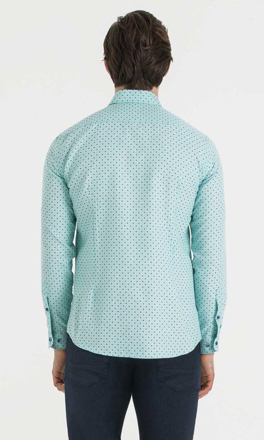 Baskılı Slim Fit Yeşil Gömlek