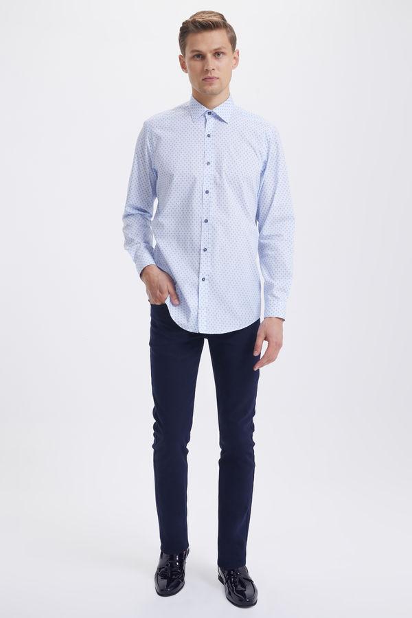 Hatem Saykı - Baskılı Regular Mavi Gömlek (1)