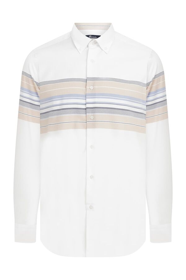 HTML - Slim Fit Çizgili Beyaz Gömlek