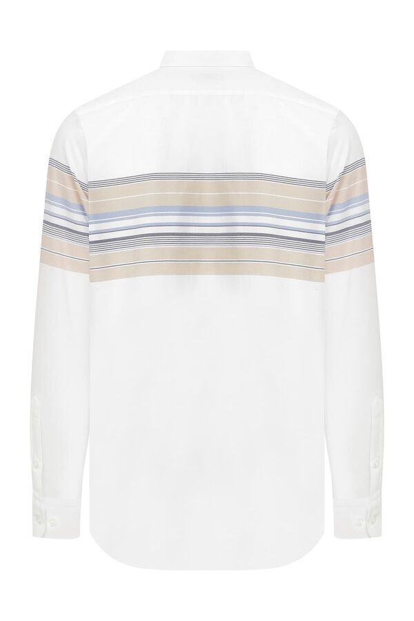 HTML - Slim Fit Çizgili Beyaz Gömlek (1)