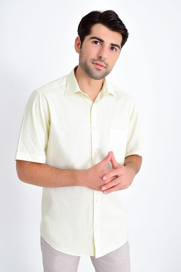 HATEMOĞLU - Bej Desenli Klasik Gömlek