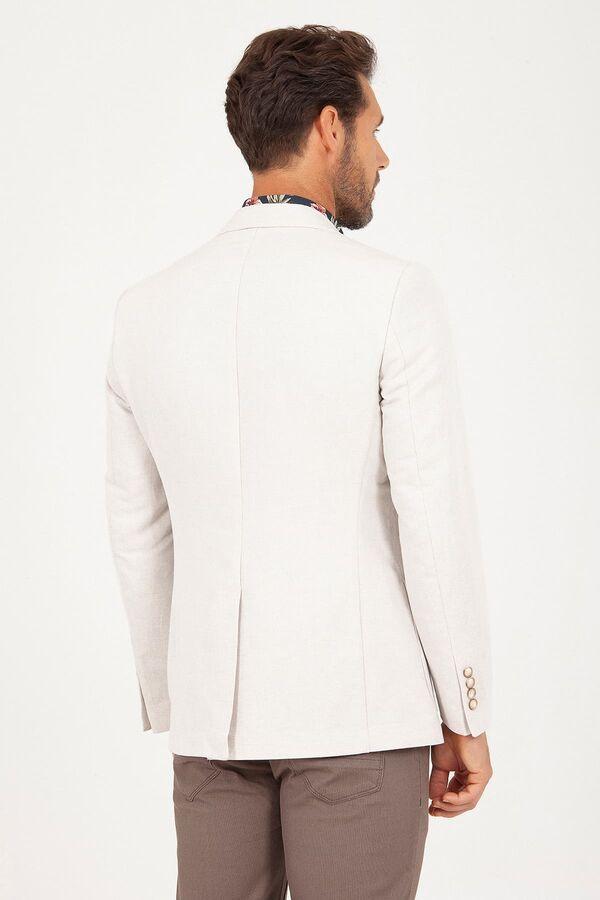 Bej D. Desenli Slim Fit Ceket
