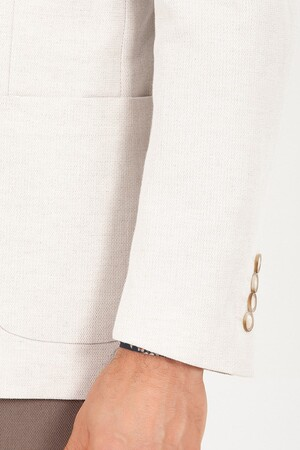 Bej D. Desenli Slim Fit Ceket - Thumbnail