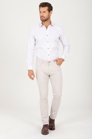 Bej Slim Fit Pantolon - Thumbnail