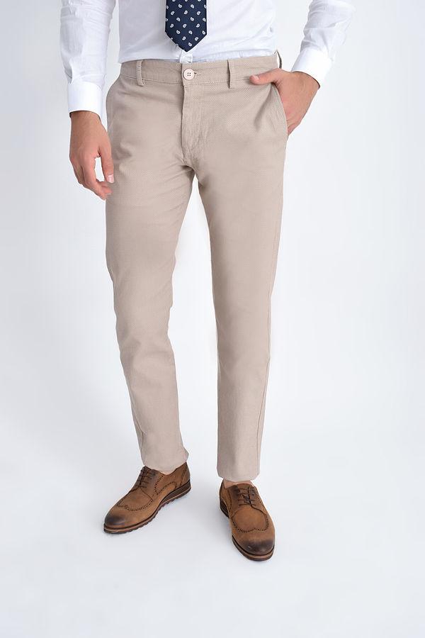 HATEM SAYKI - Bej Desenli Slim Fit Pantolon