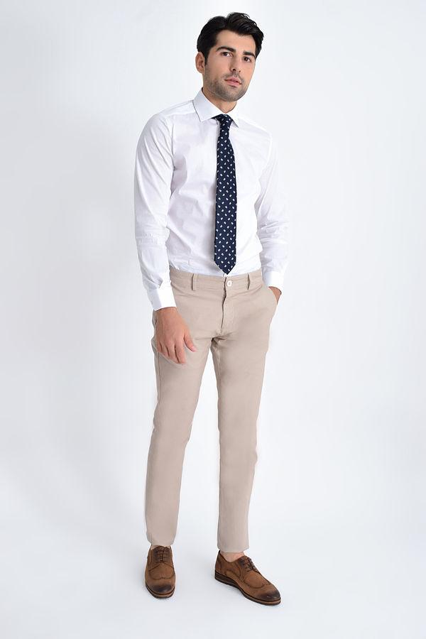 HATEM SAYKI - Bej Desenli Slim Fit Pantolon (1)