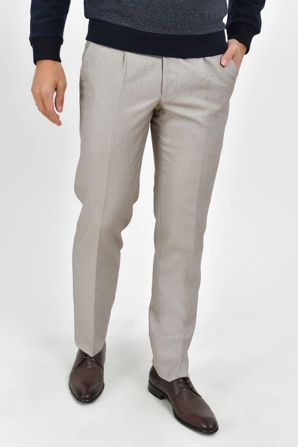 HTML - Bej Desenli Slim Fit Pantolon