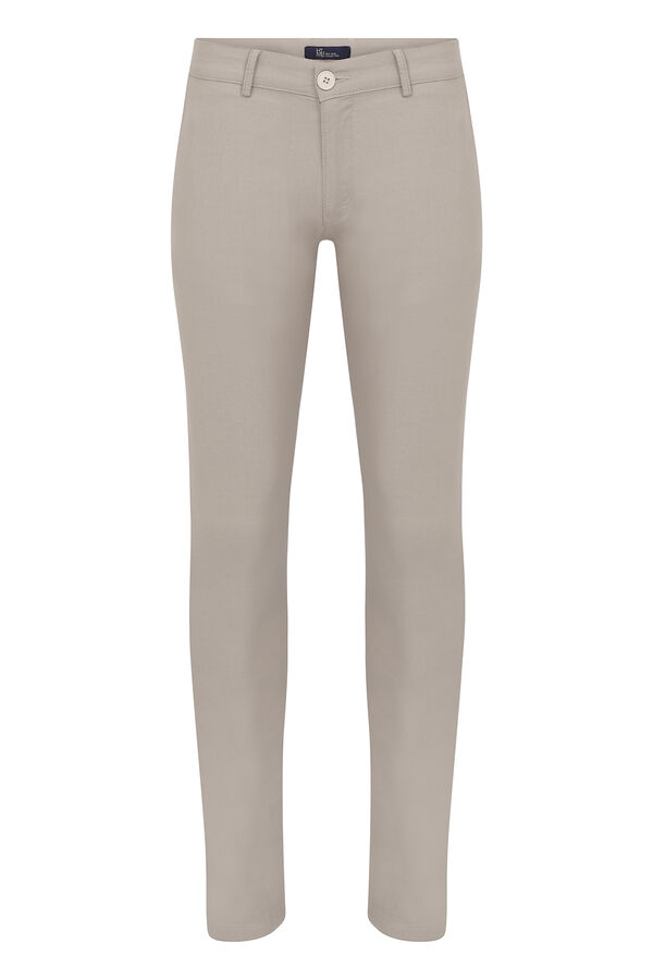 Bej Desenli Slim Fit Spor Pantolon
