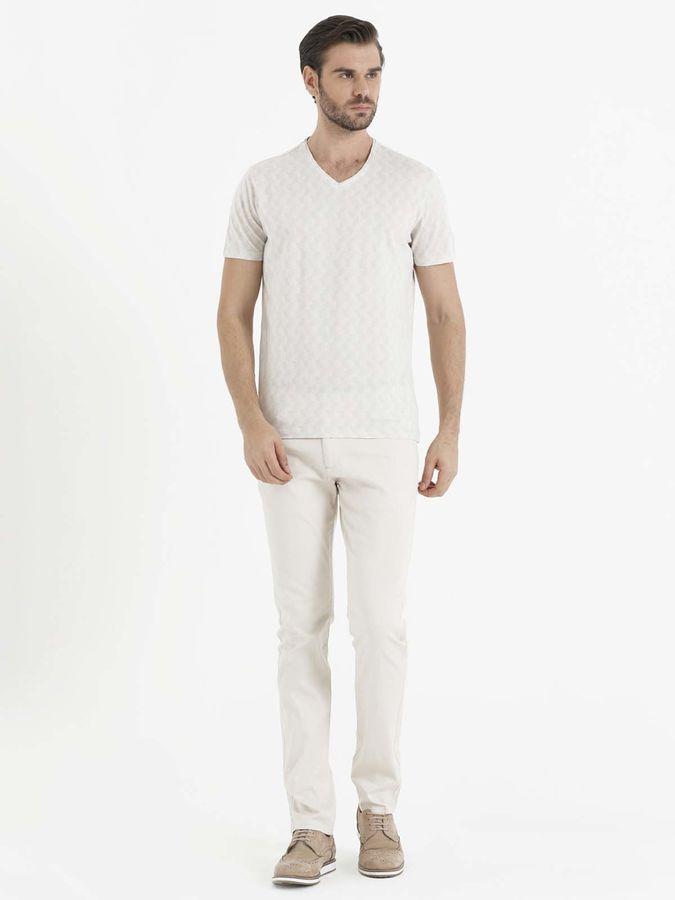 HATEM SAYKI - Bej Jakarlı Regular T-shirt (1)