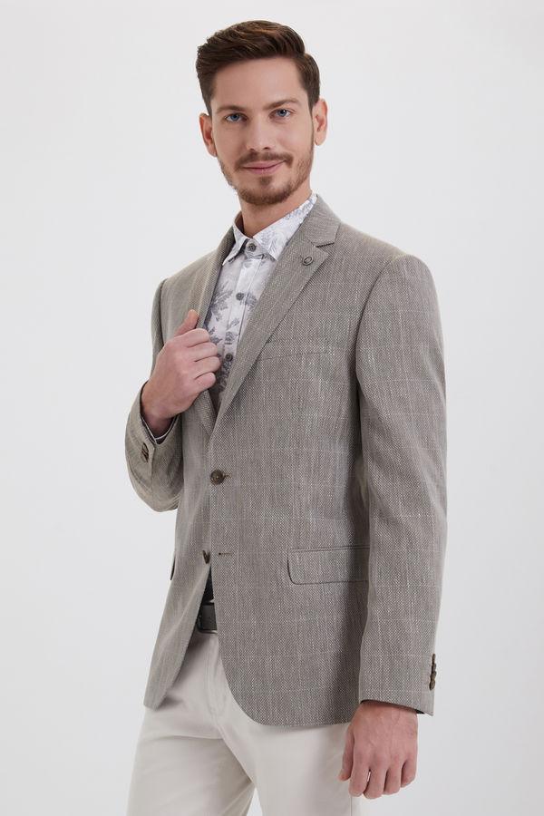 Bej Kareli Dinamik Ceket