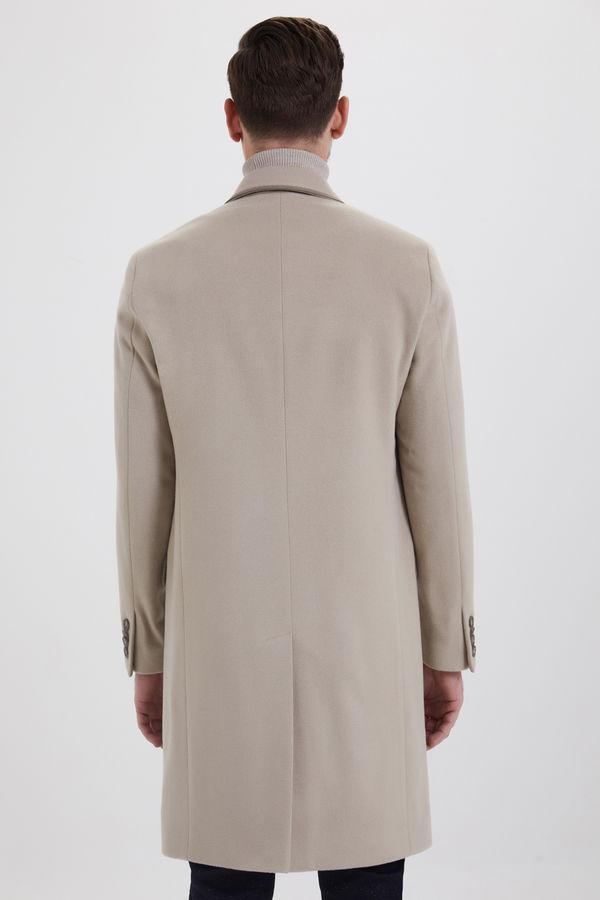Bej Kontrast Cepli Yünlü Palto