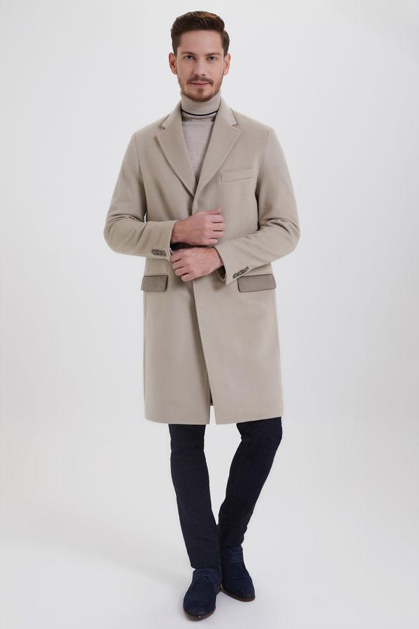 Hatem Saykı - Bej Kontrast Cepli Yünlü Palto (1)