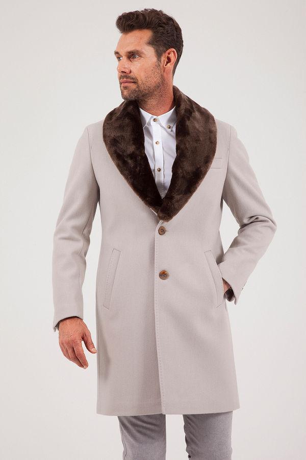Bej Kürklü Palto